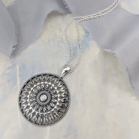 Christine Alaniz Designs Protea Amulet Necklace with diamond center