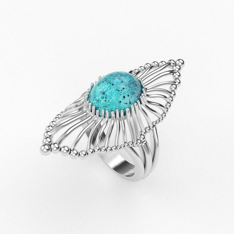 Christine Alaniz Designs Lamella Ring with an oval turquoise cabochon gemstone