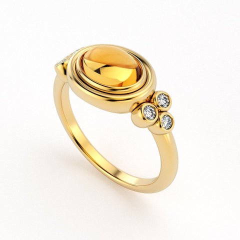Christine Alaniz Designs 18kt Yellow gold oval cabochon citrine and diamond ring with bezel settings for all stones