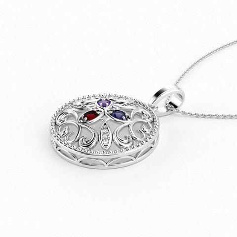 Christine Alaniz Designs - 14kt White Gold Birthstone Mother's Pendant