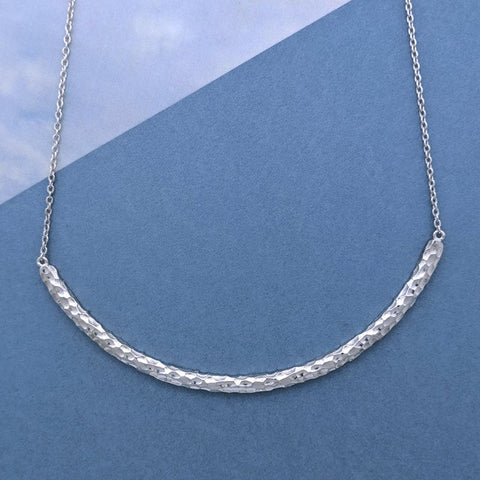 Christine Alaniz Designs - Custom Hammered Arc Pendant Necklace in Sterling Silver