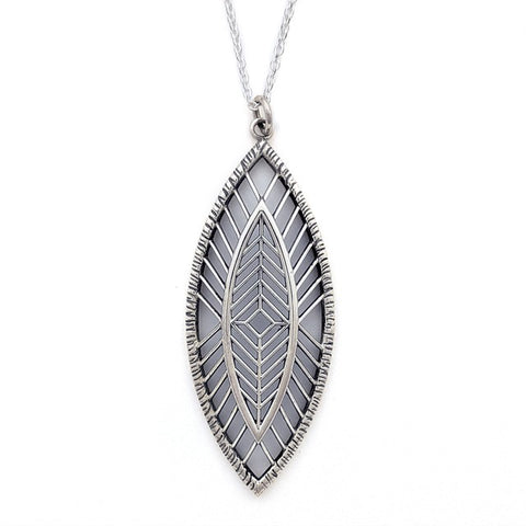 Christine Alaniz Designs - Magnolia Leaf Pendant Necklace in Sterling Silver