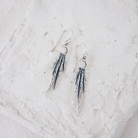 Navona Handmade handmade, hand carved sterling silver dangle earrings
