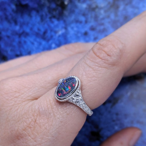 Christine Alaniz Designs - Custom Opal Ring with Botanical Engraving