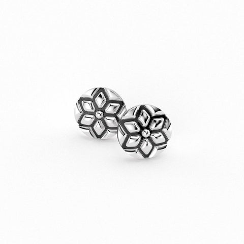 Christine Alaniz Designs Winter Magnolia Mini Stud Earrings in oxidized sterling silver