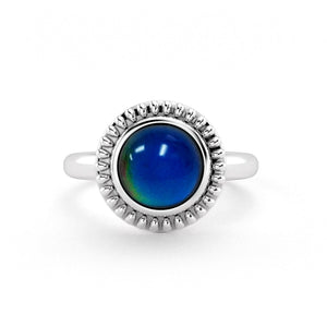 Darkling Halo Round Mood Stone Ring