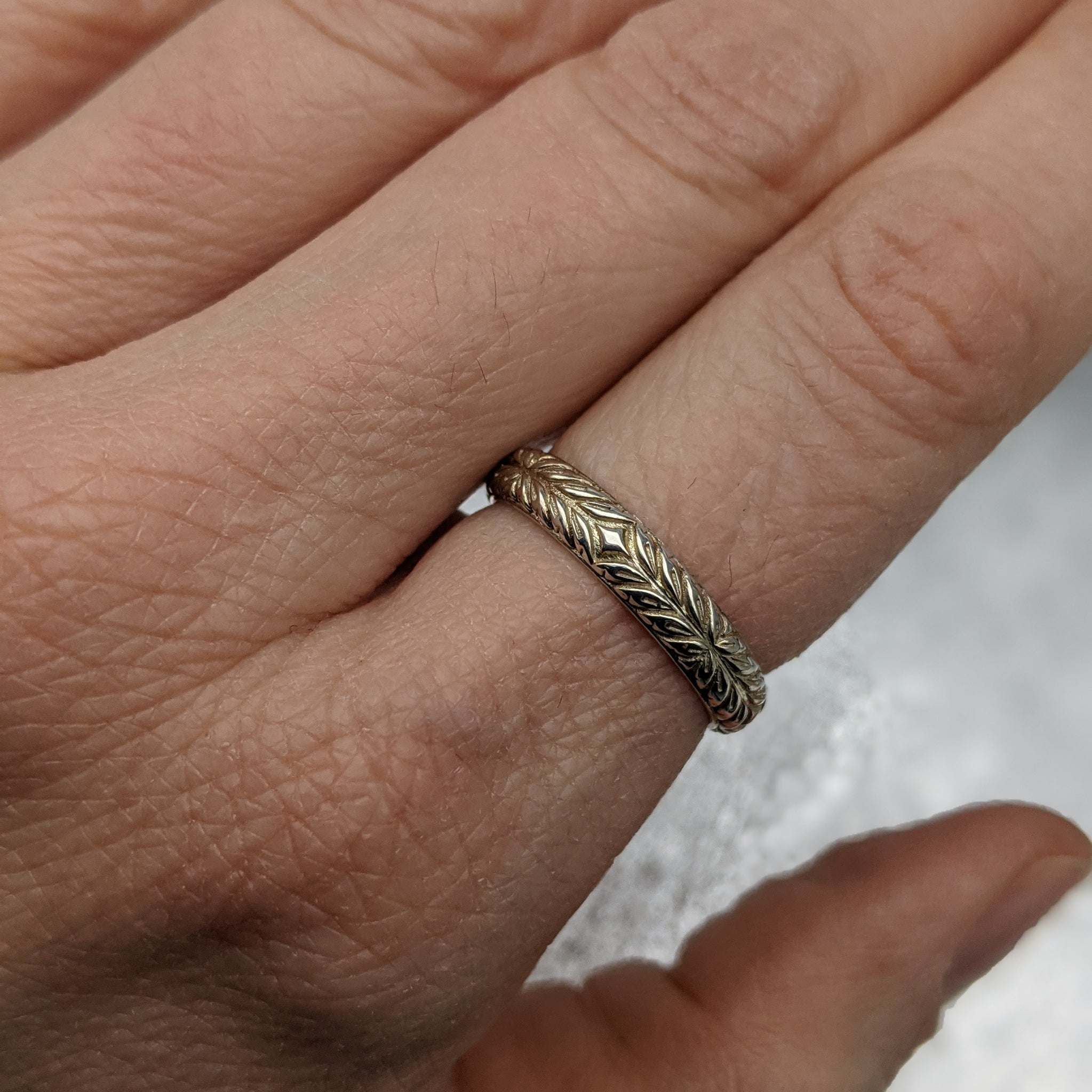 Double Wheat Engraved Ring