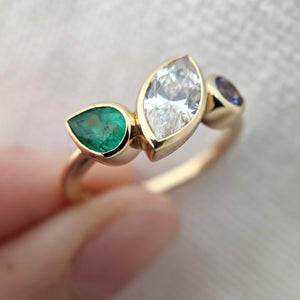Birthstone Push Present with Emerald, Diamond, and Tanzanite
