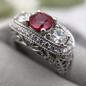 40th Anniversary Ruby Ring with Vintage Inspired Filigree