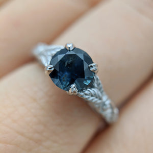 Montana Sapphire Engagement Ring with Leaf Engraving