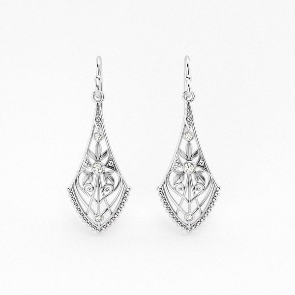 Lillian Art Deco Filigree Earrings