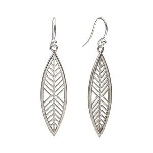 Geometric marquise-shaped earrings with zig zag lines that suggest a magnolia leaf.
