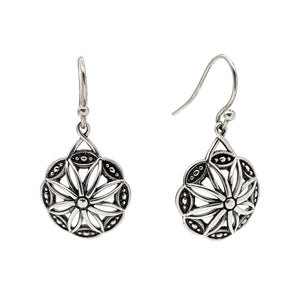 Sterling silver woven drop earrings with a border of delicate beads in marquise shapes.