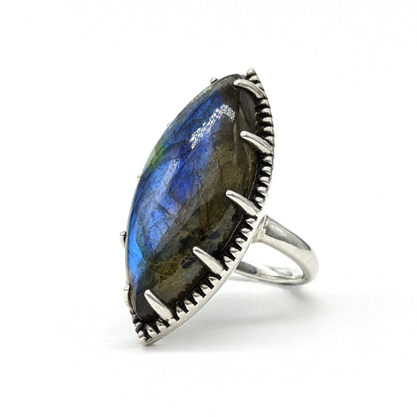 Darkling Halo Marquise Ring with Labradorite