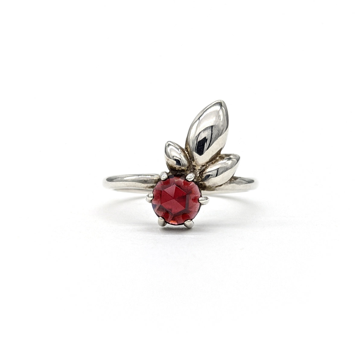 Lily Leaf Ring in Garnet - Size 7.50