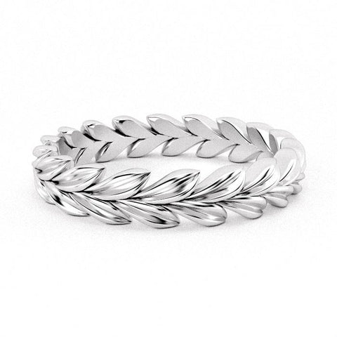 Lillian Leaf Braid Eternity Ring
