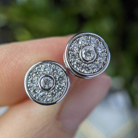 Halo Stud Earrings with Heirloom Diamonds
