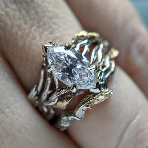 Leaf and Vine Marquise Engagement Ring