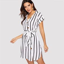 Elegant Stripe Print Mini Dress