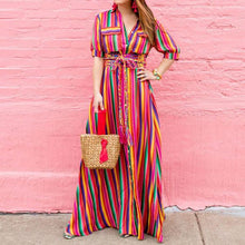 New Turn-Down Collar Lace Up Stripe Long Dress