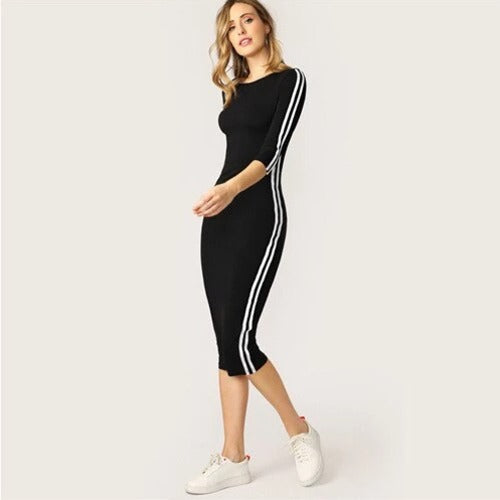 Sweaty Rocks Striped Tape Side Pencil Dress