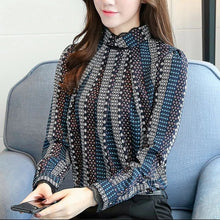 New Fashion Women Blue Striped Print Blouse Shirt