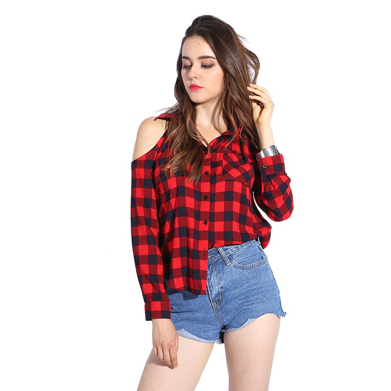 Plaid Blouse Cold Shoulder Women Sexy Top Checked Shirts