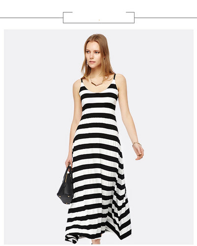 Summer New Casual Women Long Maxi Black White Striped