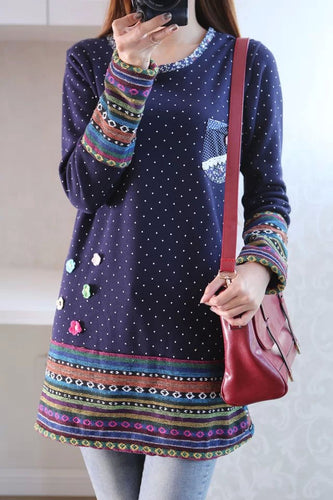 Autumn winter kimono linen flannel splice rainbow