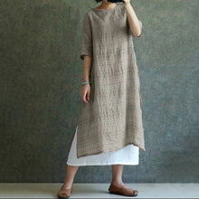 Women Vintage Summer Casual Check Dress