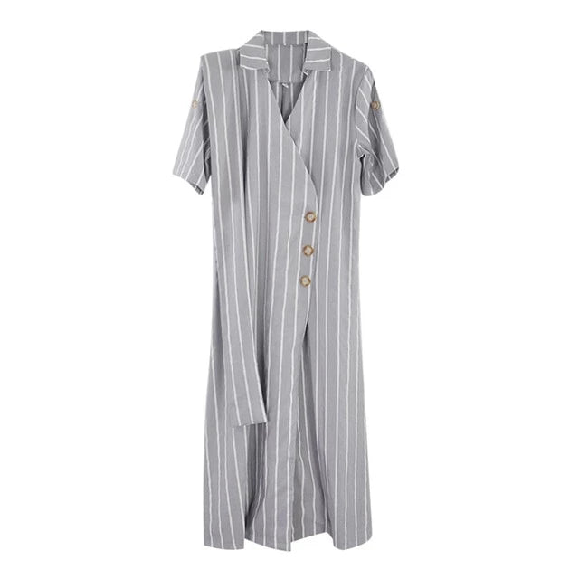 Vintage Striped A-line Long Dress Short Sleeve Cross