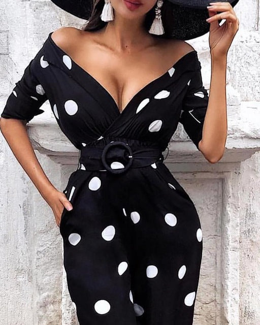 Sexy Deep V Neck Polka Dot Print O-Ring Belted Dress