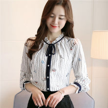 New women blouse shirt Casual white striped shirt flower print