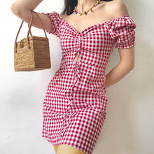 Women Sweetheart Neck Drawstring Front Gingham Check