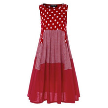 Women Polka Dot Check  Print Cotton Linen Dress