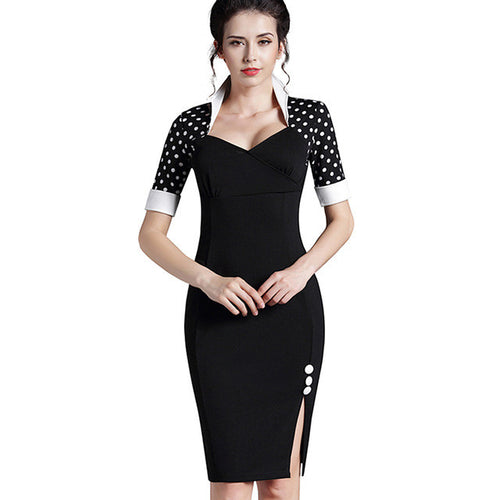 Elegant Polka Dot Split Pencil Dress