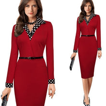 Women Elegant Vintage Autumn Polka Dot Turn Down Collar