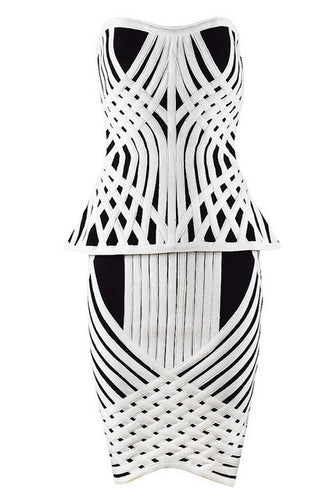 Sexy Striped Strapless 2-piece Bandage Dress