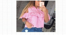 Trendy Summer Women Loose Ruffles Off the Shoulder Plaid Striped