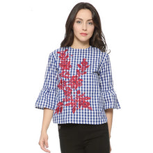 Women floral embroidery plaid blouse full cotton three quarter