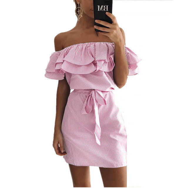 Summer Off-the-shoulder Ruffles Dress