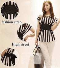 New Striped Print Chiffon Blouse
