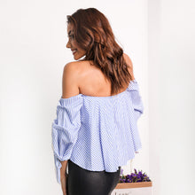 Sexy striped off shoulder shirt Spring