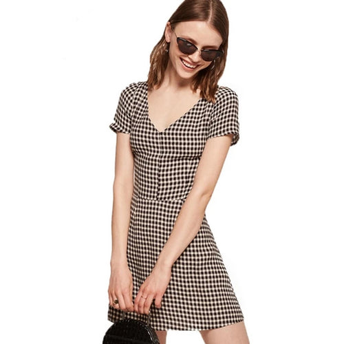 Fashion Women Mini Dress Preppy Look V Neck