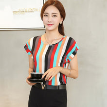 New Summer Fashion Short Sleeve Printed Chiffon Top Shirt