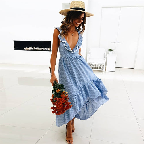 Summer Maxi Dress Women Ruffle Striped Casual Beach Dress
