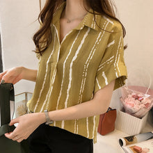 New Summer V Collar Stripe Printing Casual Women Blouse Shirt