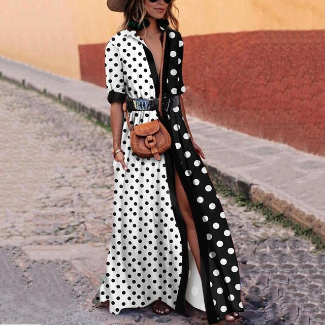Woman Polka Dot Black And White Long Dress