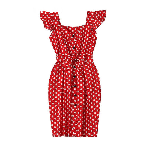 New Polka Dot Shirt Pocket Dress