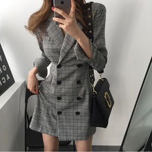Retro Autumn Women's Retro Plaid Suits Dress Deep V-Neck Collar